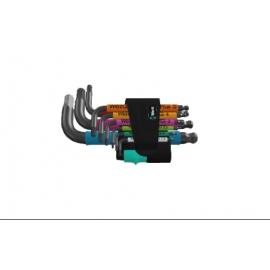 CONJUNTO DE CHAVE ALLEN EM L MODELO 950/9 HEX-PLUS COM ENCAIXE HEXAGONAL MULTICOLOR - WERA